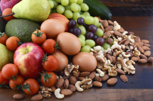 Healthy Diet with fresh fruit, eggs, nuts and vegetables.